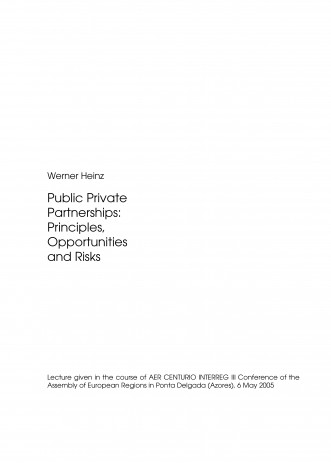 Cover: Public Private Partnerships: Principles, Opportunities and Risks