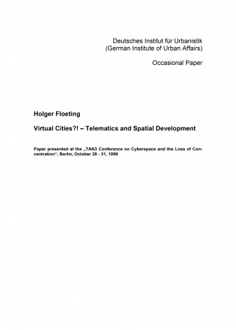 Cover: Virtual Cities?! – Telematics and Spatial Development