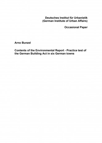 Cover: Contents of the Environmental Report - Practice test of the German ...