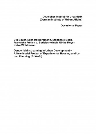 Cover: Gender Mainstreaming in Urban Development – A New Model Project of Experi