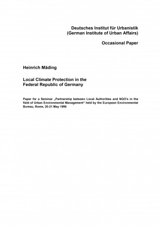 Cover: Local Climate Protection Policy in the Federal Republic of Germany