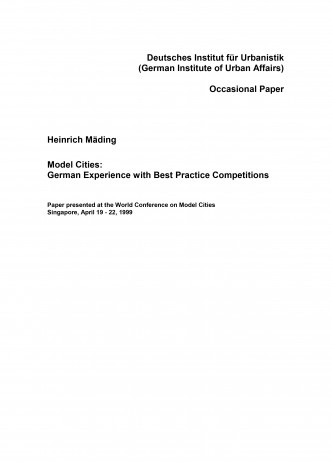 Cover: Model Cities: German Experience with Best Practice Competitions